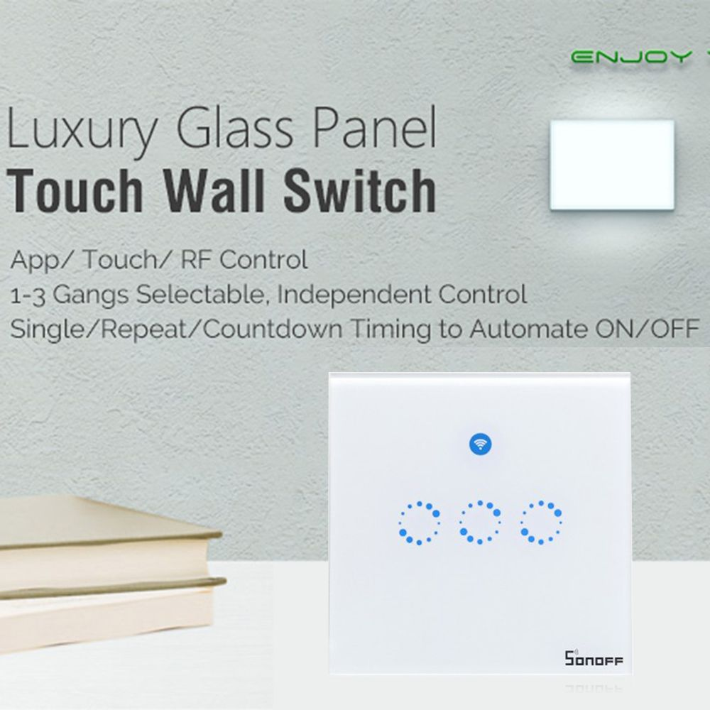 Sonoff T1 1 2 3 Gang Wifi Smart Rf App Touch Control Wall Light Switch Uk