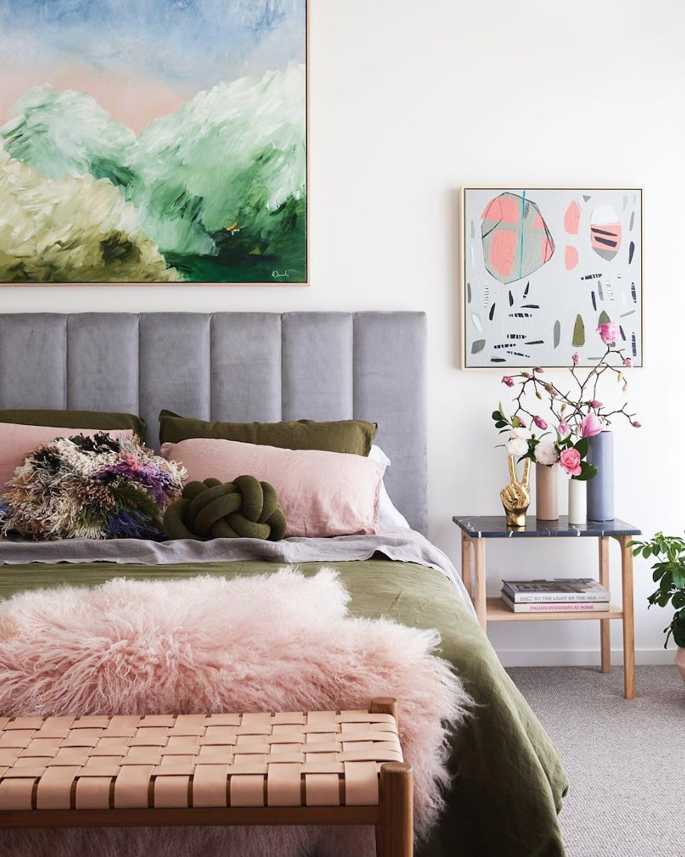 Olive And Pink Bedroom By Fenton & Fenton