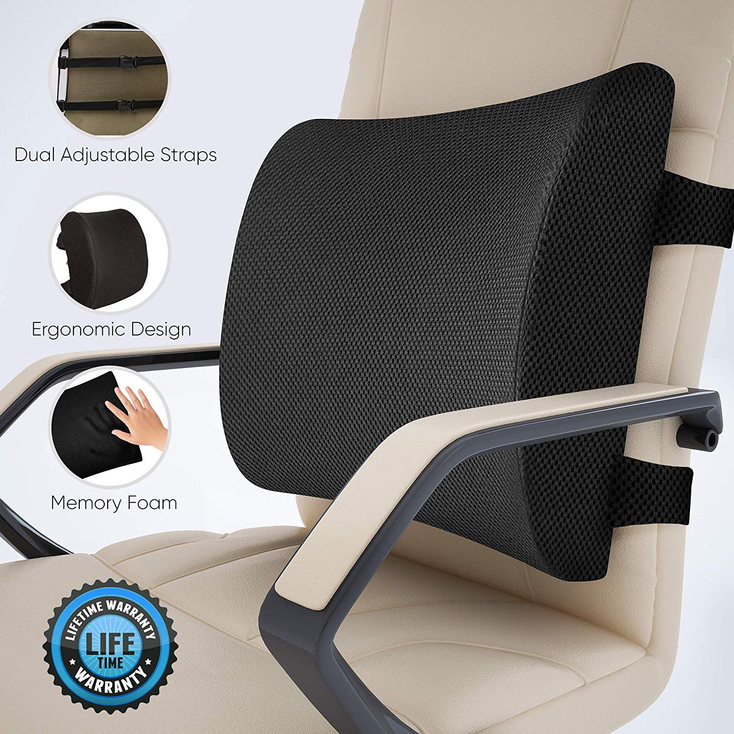 Everlasting Comfort 100 Pure Memory Foam Back Cushion Lumbar Support Pillow For Office Car And C Car Seat Pillow Neck Support Pillow Lumbar Pillow