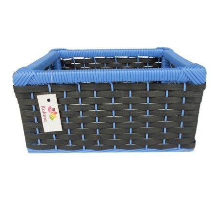 Cesto Fibra Sintética Preto E Azul 29x25x15
