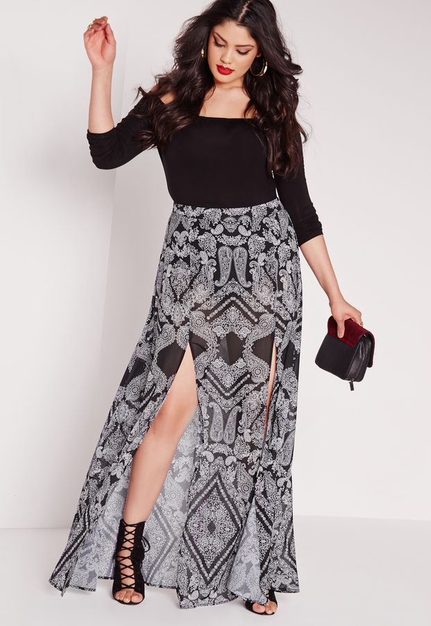 7376270c060de8 Plus Size Printed Split Maxi Skirt