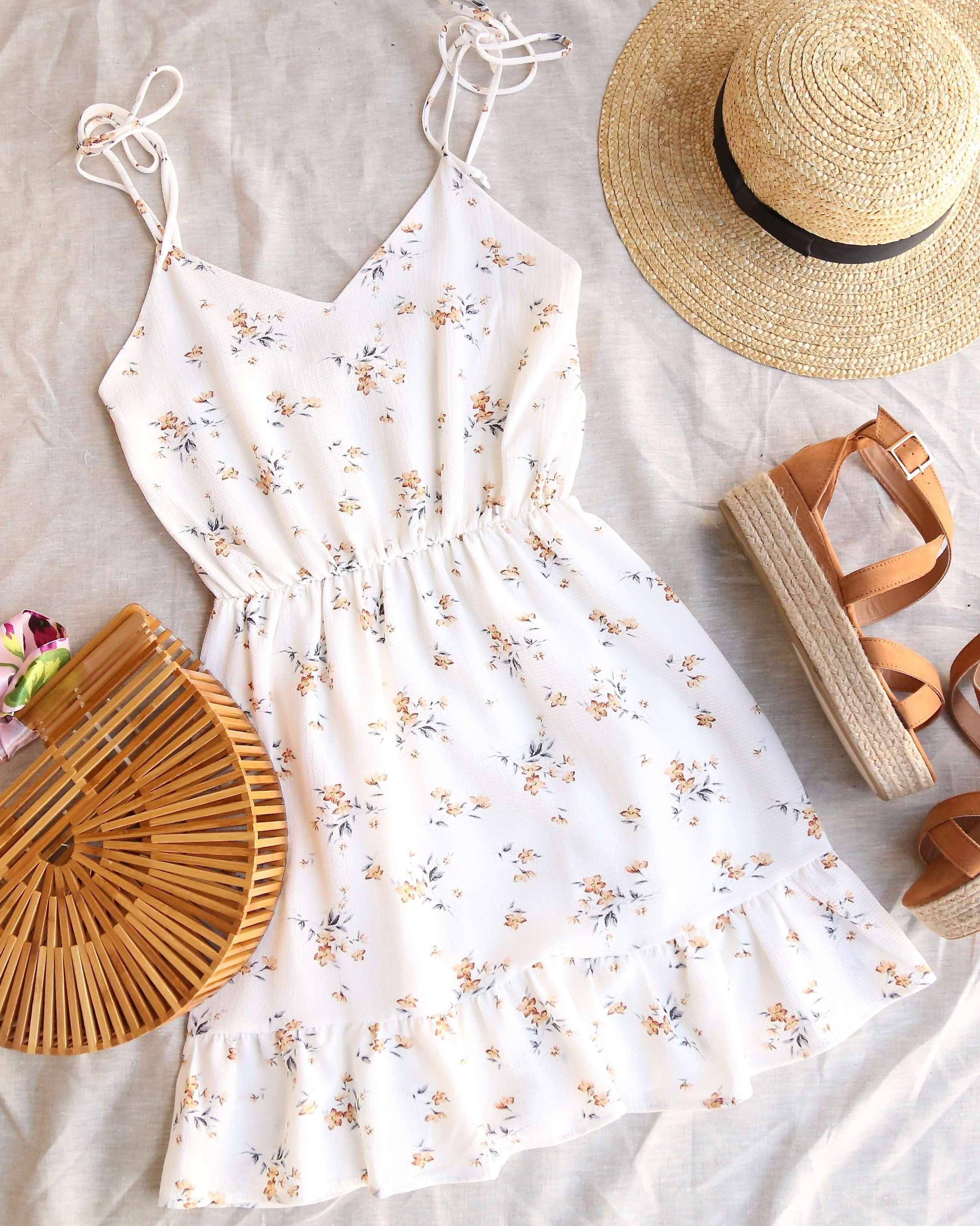 Photo of Everly – Jess floral printed self tie strappy mini dress – ivory