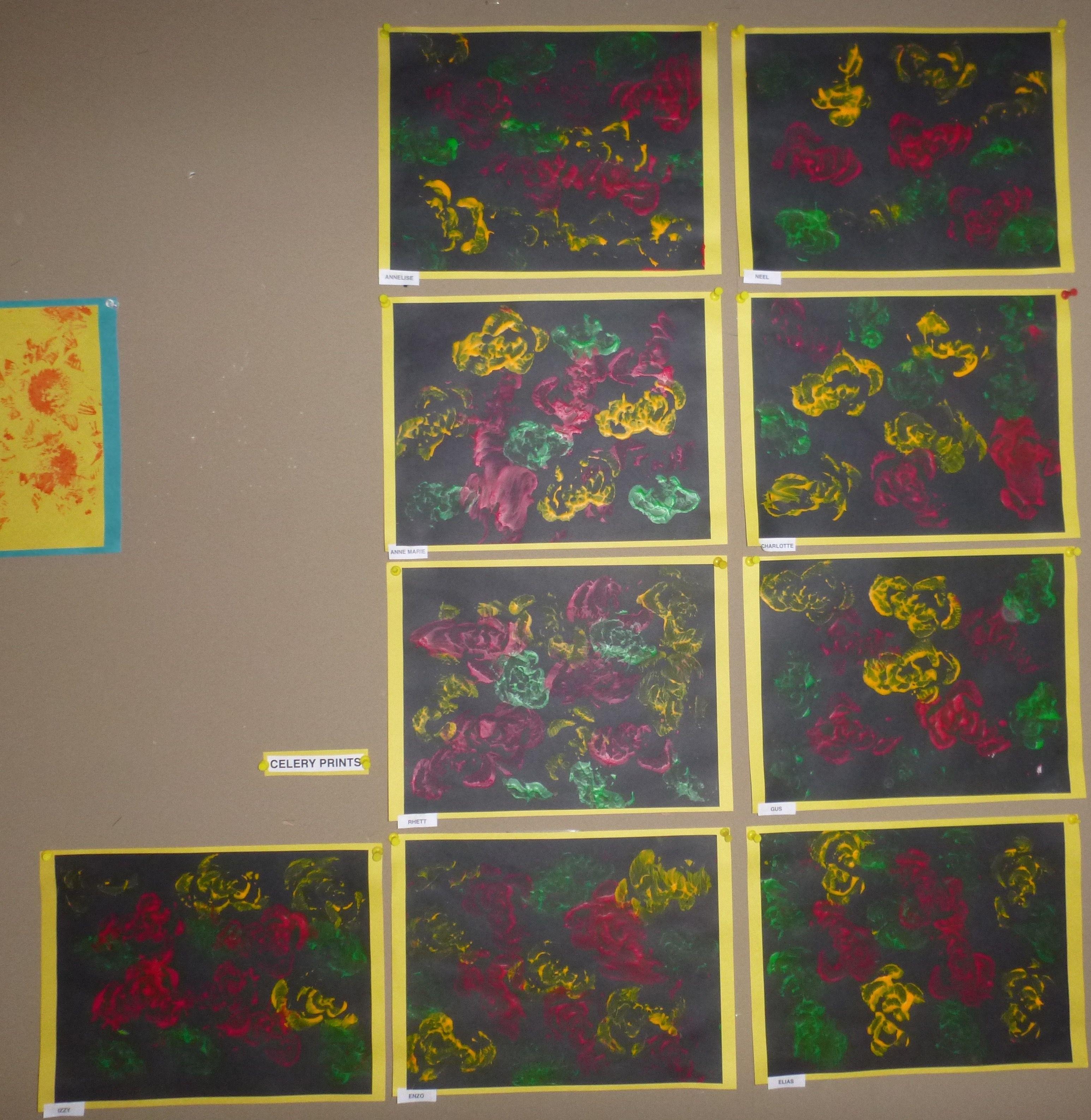 Celery Prints With Tempera
