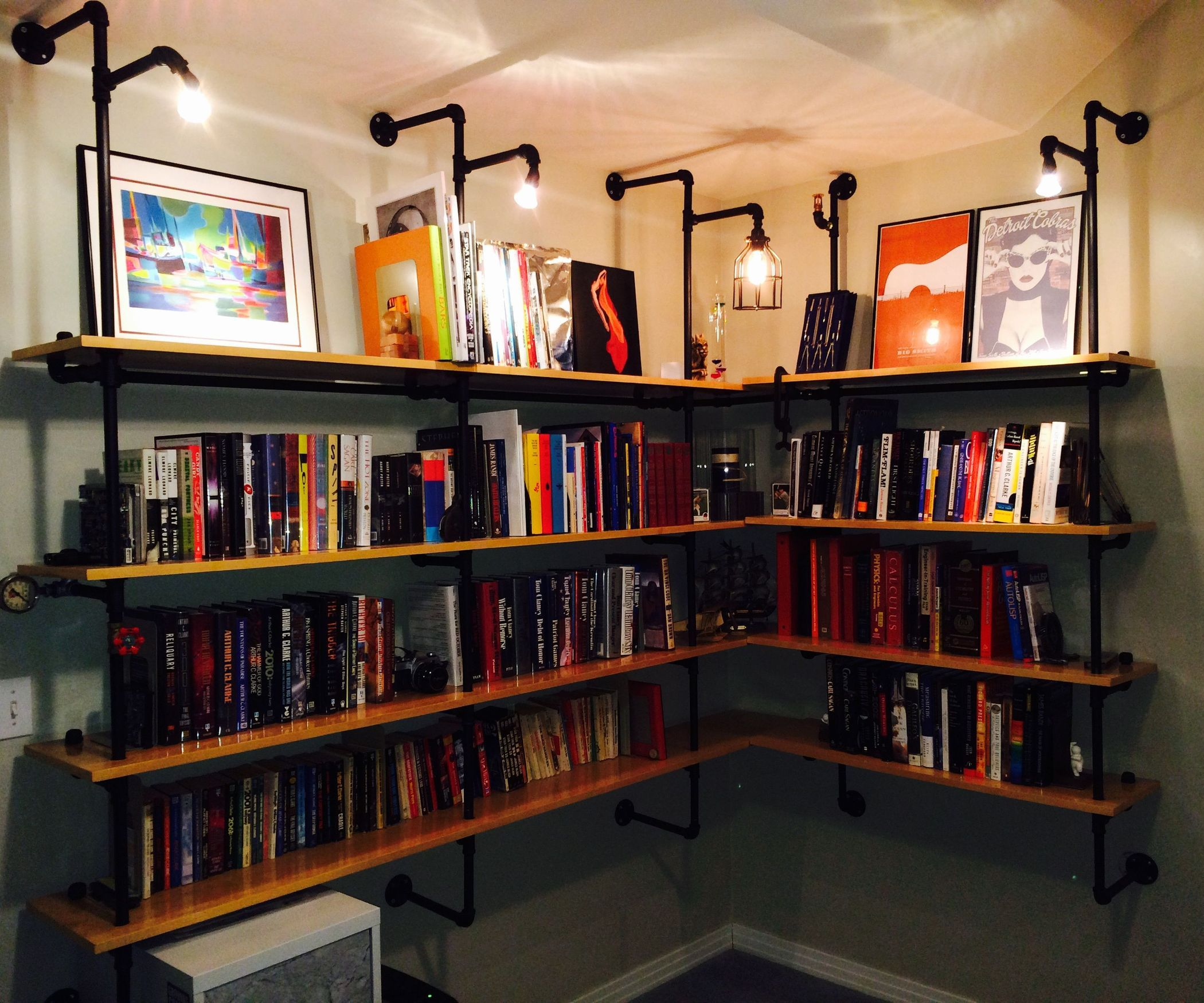 Lighted Pipesupported Shelves Featured Industrial And The Internet - Pipe bookshelves