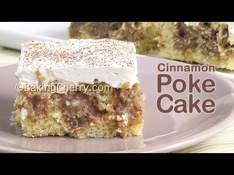FLUFFY AND MOIST CINNAMON ROLL POKE CAKE   Easy Recipe   So Yummy and Delicious!   Baking Cherry