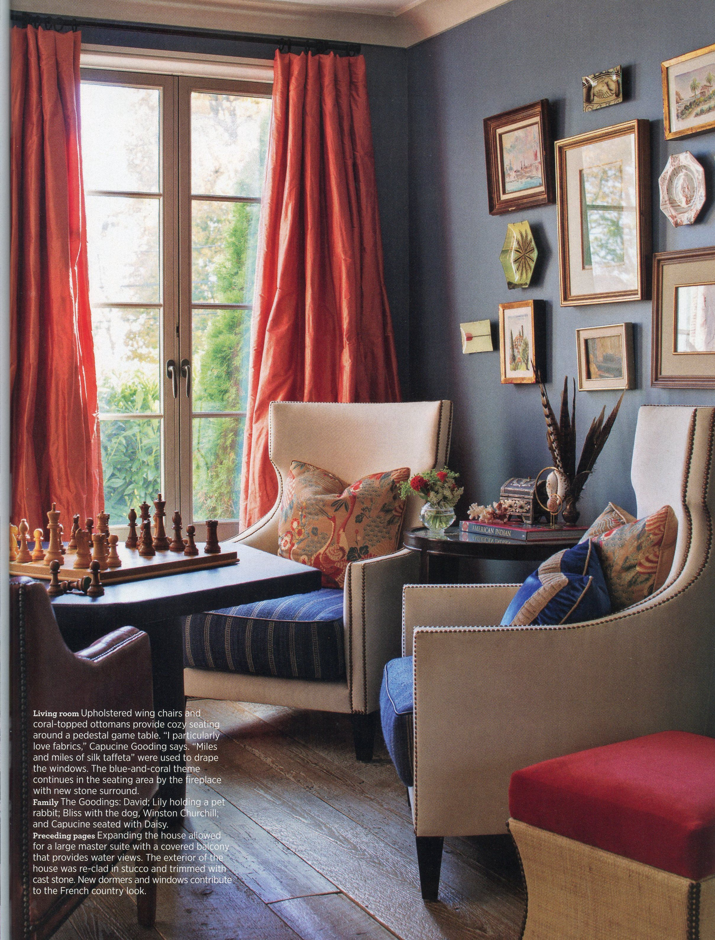 Traditional Home April 2015 Focus On Arm Chair With Navy Seat Cushion And Great Throw Pillow Orang And Navy Color Scheme In 2020 Oranje Gordijnen Interieur Zitkamers #orange #and #cream #living #room