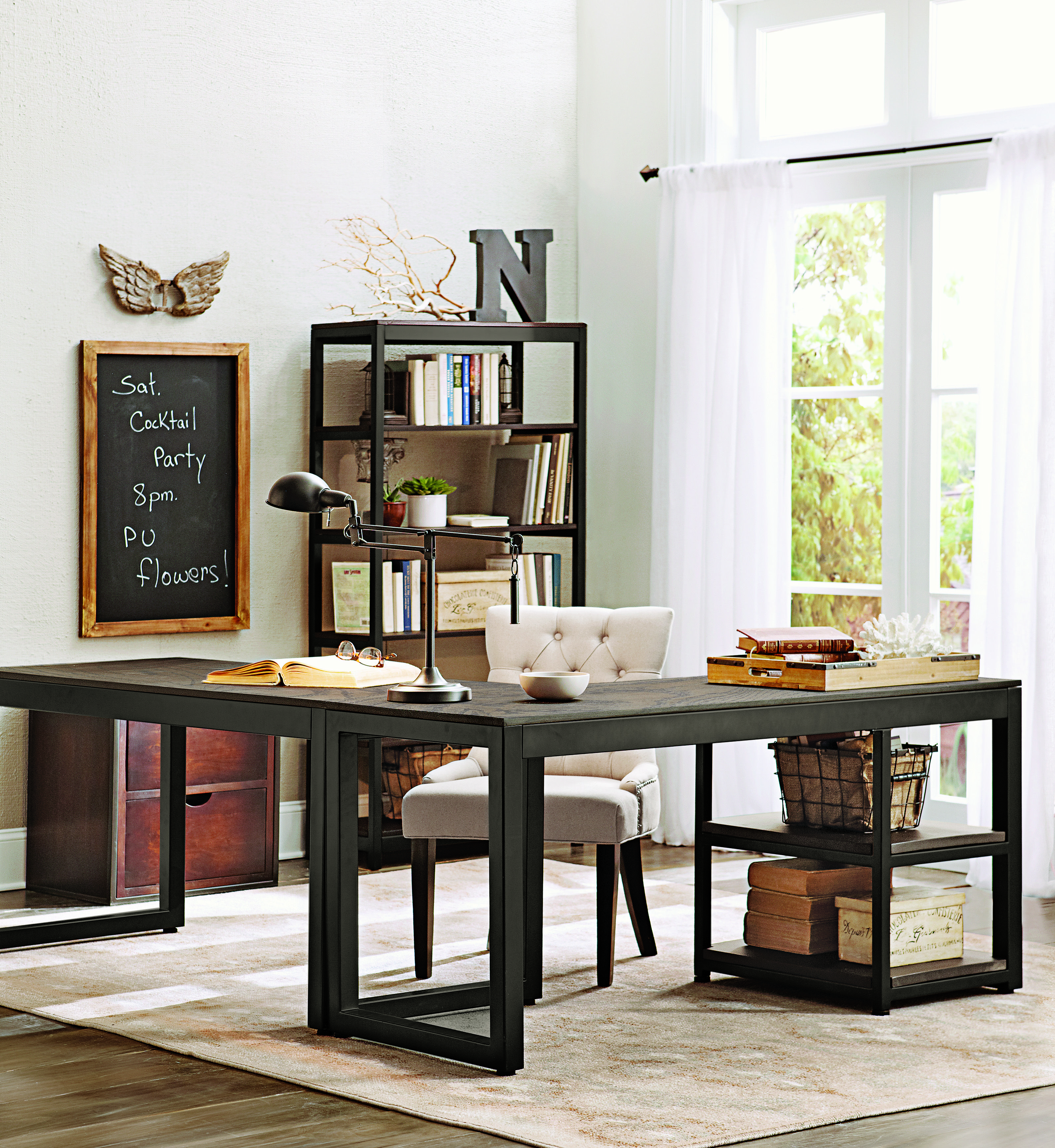 industrial style home office. an open and airy, industrial-style office space that works. homedecorators.com industrial style home