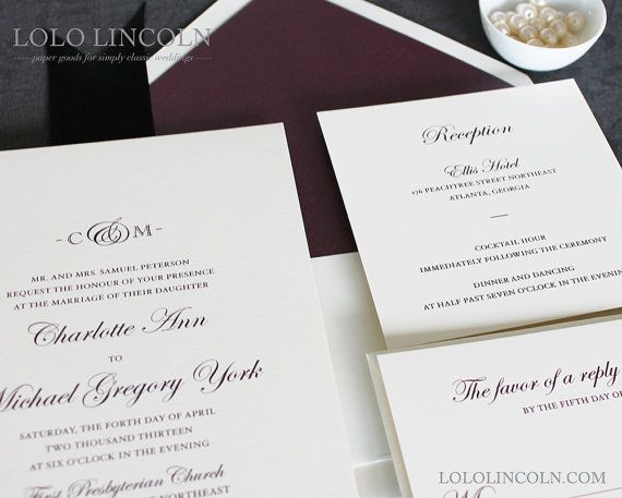 Formal Dinner Invitation Sample Ampersand Monogram Wedding Invitation Sample  Dream Wedding .