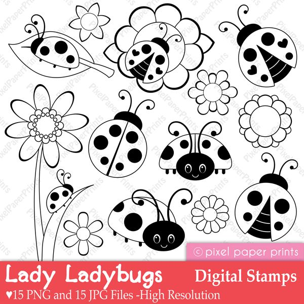 Lady Ladybug - Digital Stamps | Rocks | Pinterest | Mariquitas ...