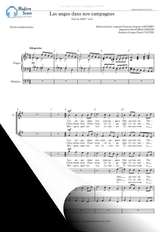Pack pour chorale   Chant de Noël : Les Anges dans Nos Campagnes