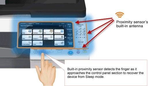 Konica Minolta'a latest technology offers faster sleep mode recovery with the touch panel with built-in proximity sensor