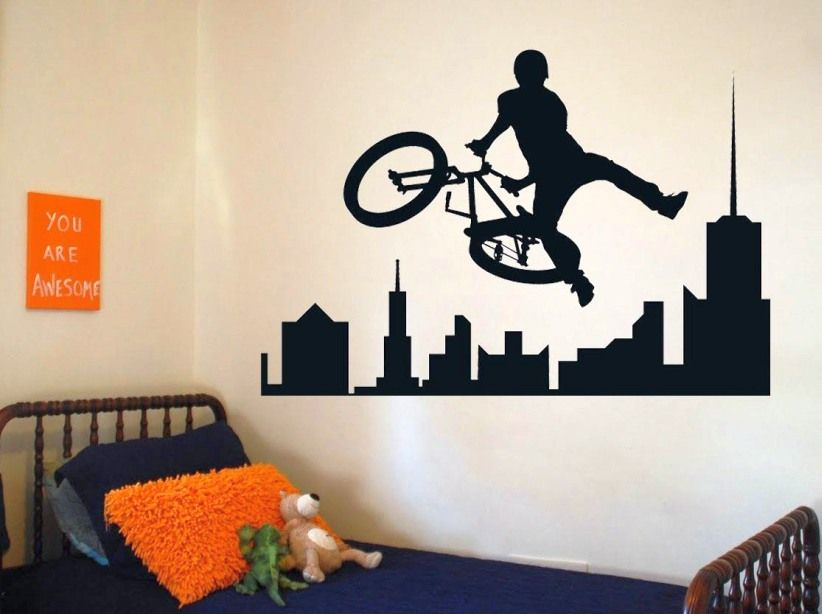 Kids Bedroom Wall Decor With Accents Drawing Bikes For Child Bike