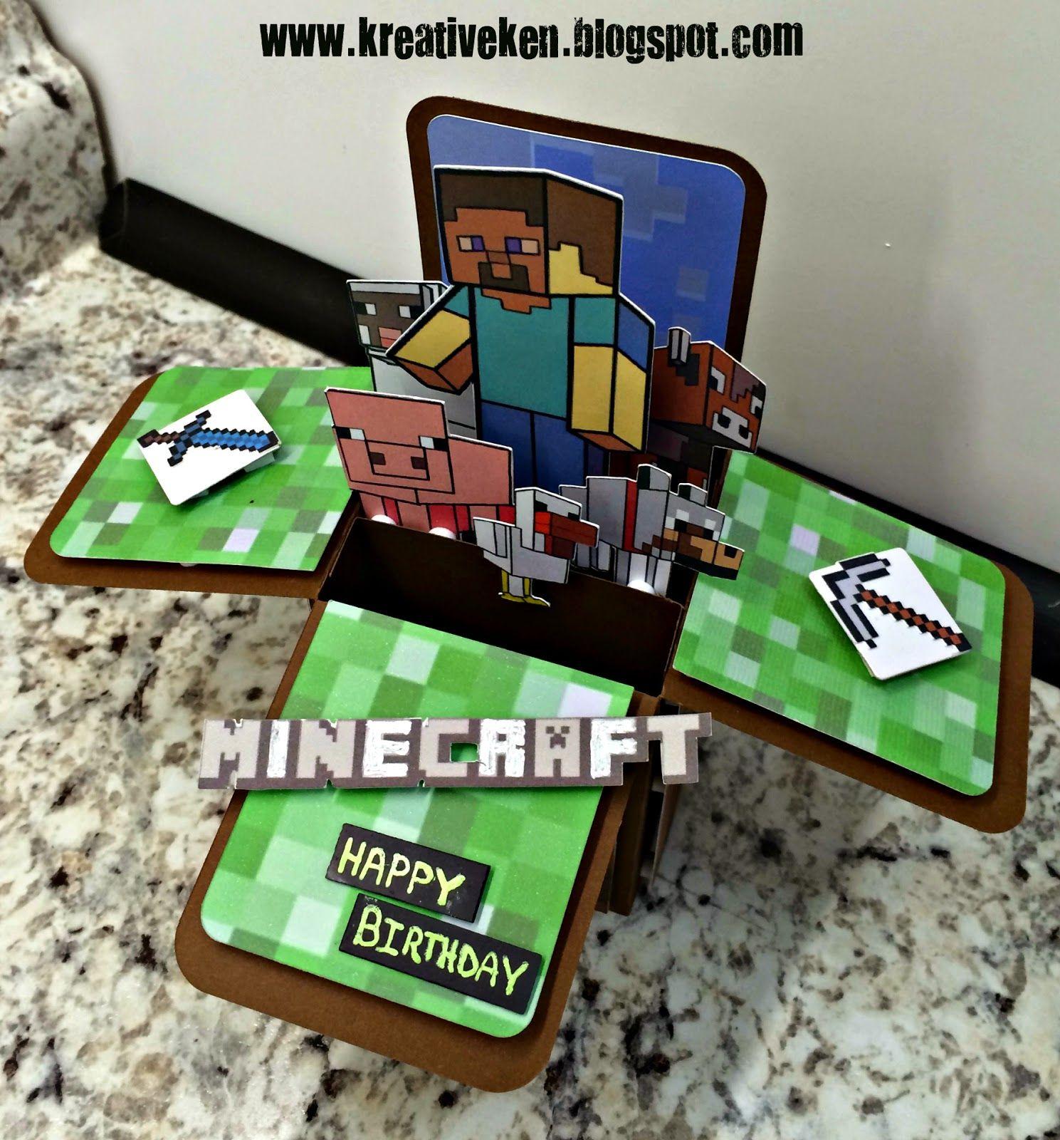 MINECRAFT BIRTHDAY CARD Minecraft birthday card