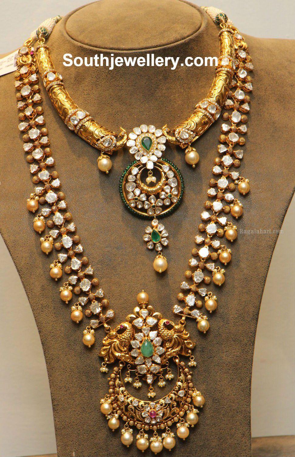 Polki Peacock Choker and Long Chain Diamond Necklaces