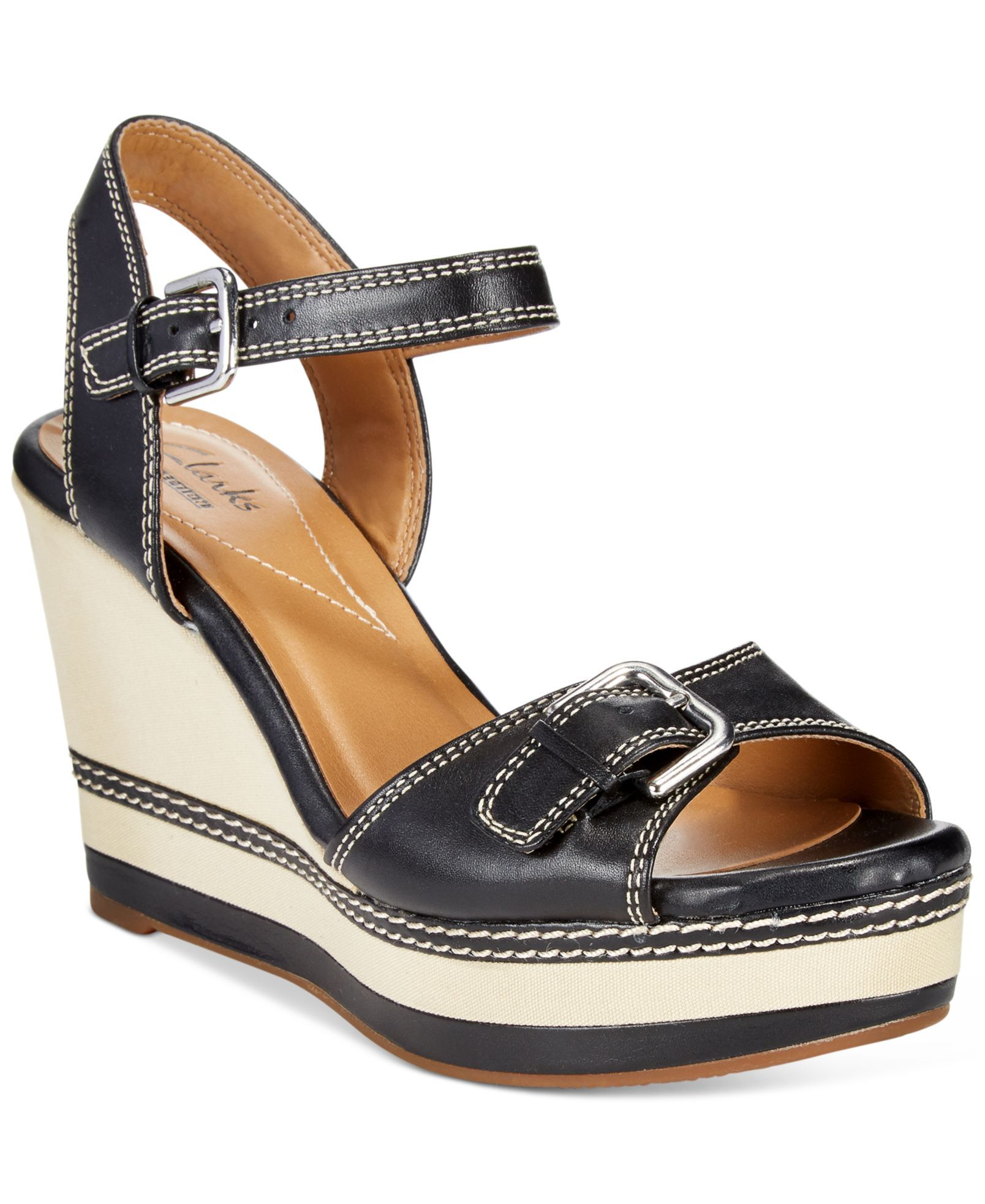 Clarks Collection Women's Zia Castle Wedge Sandals