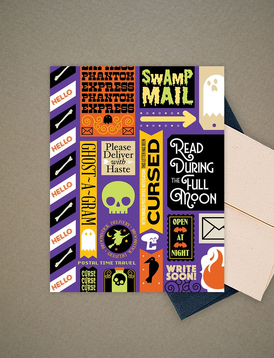 Ghost mail greeting card u evil supply co halloween pinterest