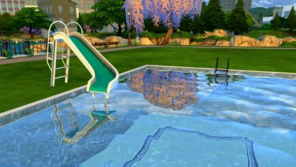Leo 4 sims pool slide sims 4 downloads sims 4 objects for Pool designs sims 4