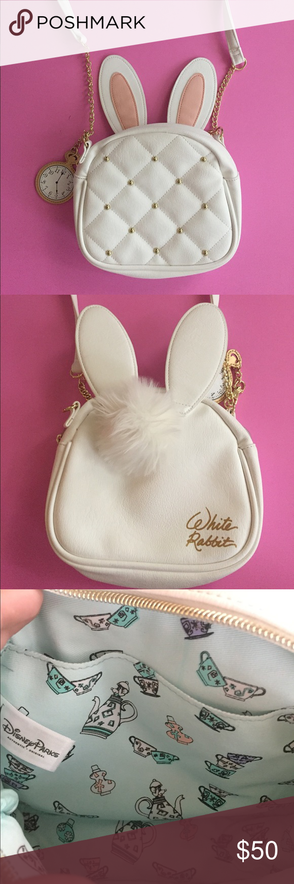 Disney Purse White Rabbit Alice In Wonderland Themed Purchased From The Dress At Springs Has A Cute Bunny Tail On Back
