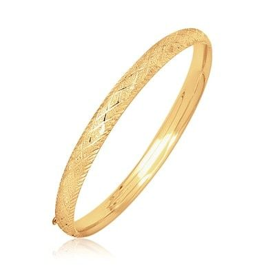 ac8bd01e16ac0 14k Yellow Gold Diamond Carved Bangle (6.0 mm) - 7 inches in 2019 ...