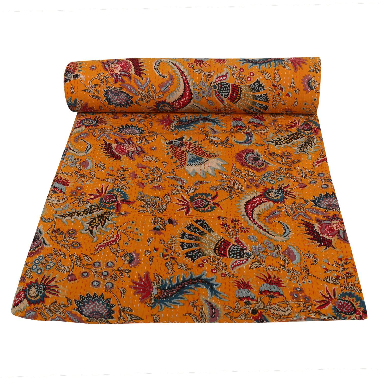 floral yellow kantha quilts bedspreads,kantha throw home decor beautiful bedding coverlet size multi
