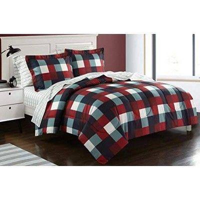Twin Herringbone Plaid Bed in a Bag Red - Heritage Club