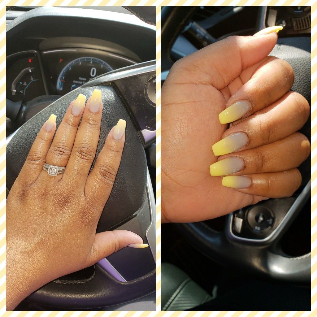 Coffin yellow and gray ombre nails. | Ombre nails, Grey ...