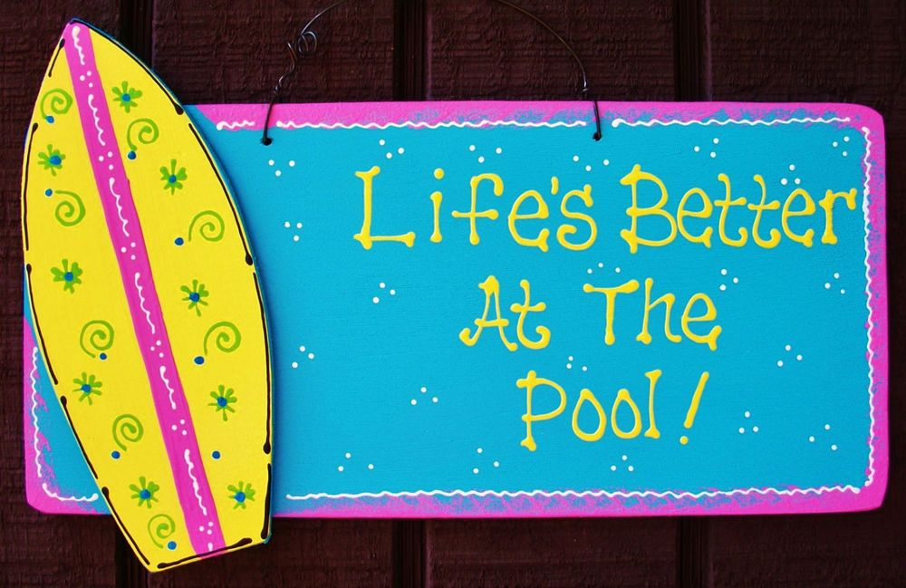 POOL Our Happy Place SURFBOARD SIGN Tropical Deck Backyard Patio Summer Plaque