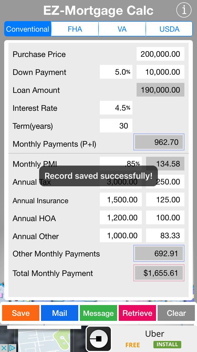 When Saved Successfully You Can Retrieve It By Clicking On The Red Button Retrieve Usda Loan Mortgage Calculator Mortgage