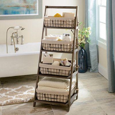 brown bathroom shelving ideas | Gray Storage Basket Wooden Ladder Shelf | Wooden ladder ...