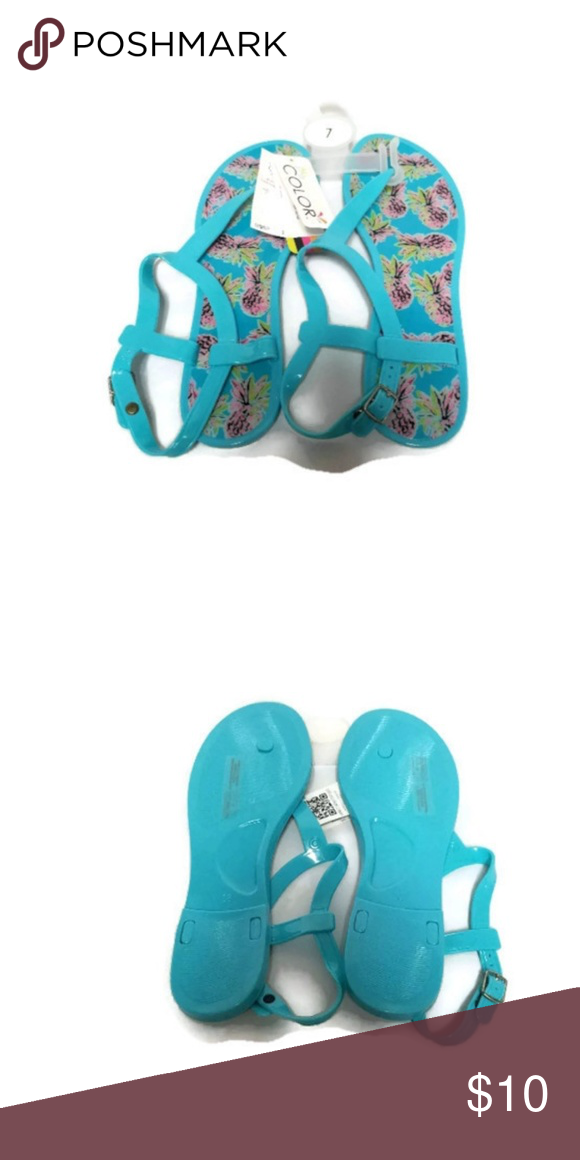 ad7adecdbdba7a All For Color Turquoise Jelly Sandals Pineapple 7 These sandals are new  with tags. They are buckle fastener. All For Color Shoes Sandals