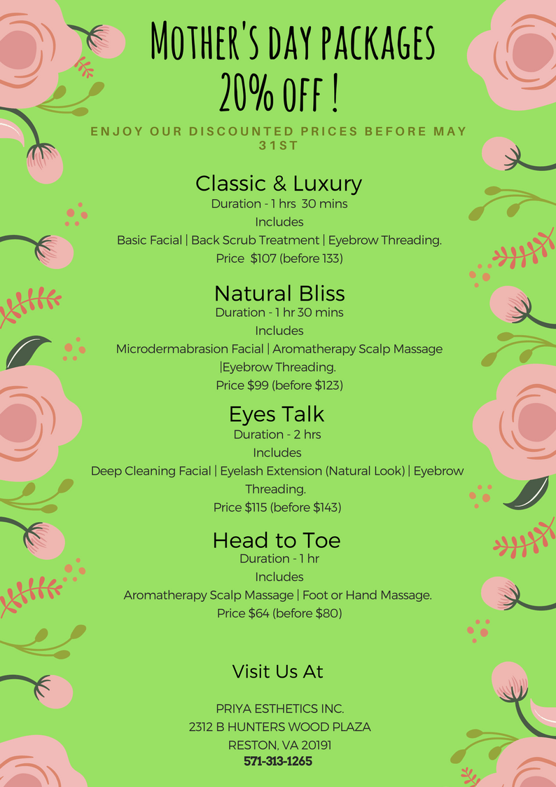 Priya Aesthetics Mother S Day Deals Spa Package Discount Beauty Package Spa Packages Spa Product Packaging Mothers Day Spa