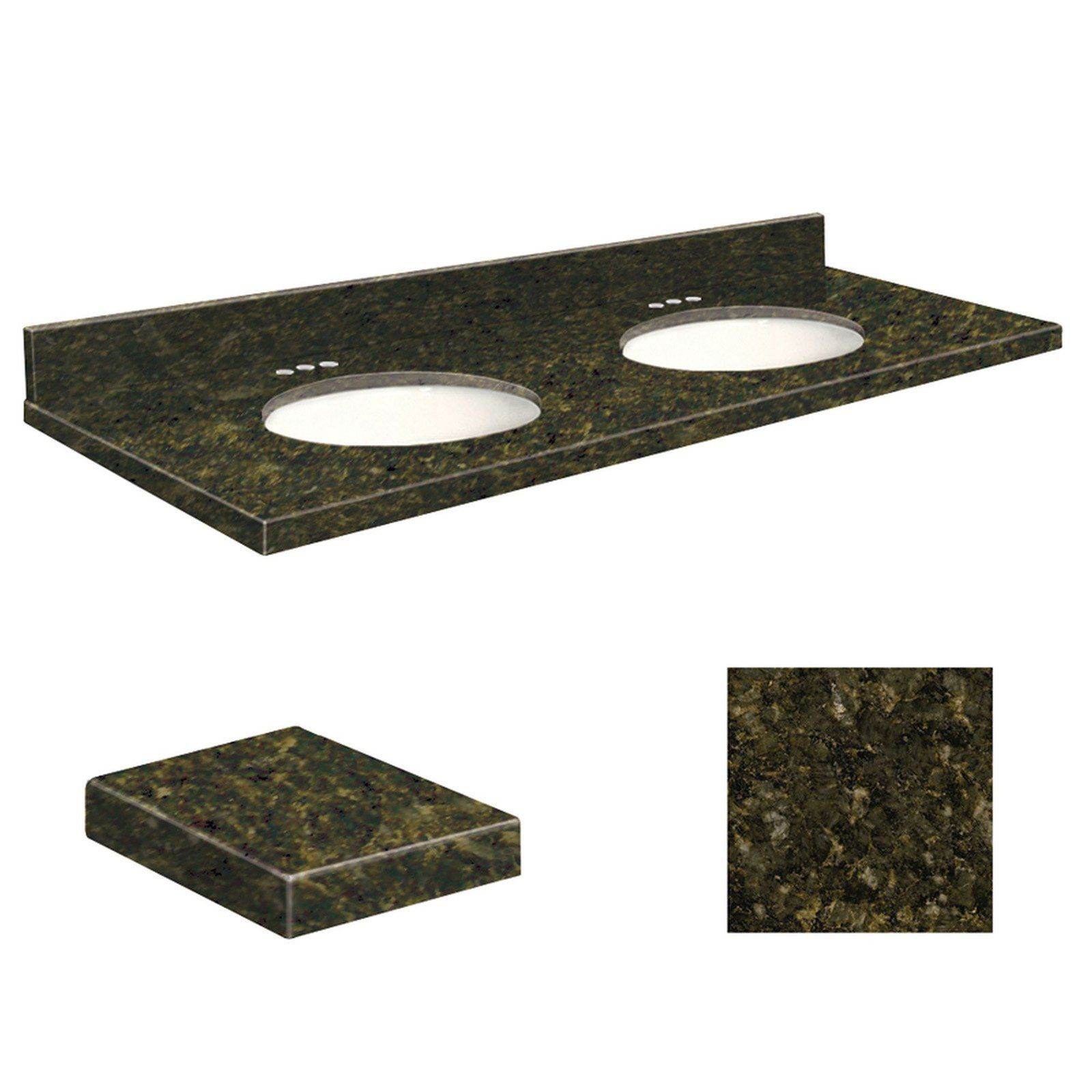 Samson 61w X 22d In Granite Double Sink Vanity Top With White