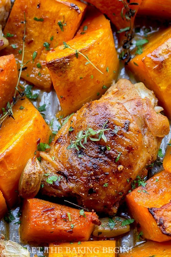 One pan meal with chicken thighs and roasted butternut squash. #onepandinnerschicken