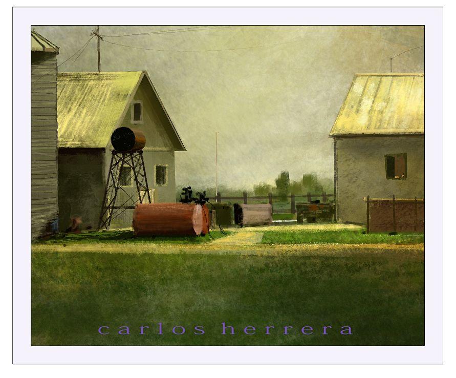 Farm Warm Light. A digital painting by Carlos Herrera