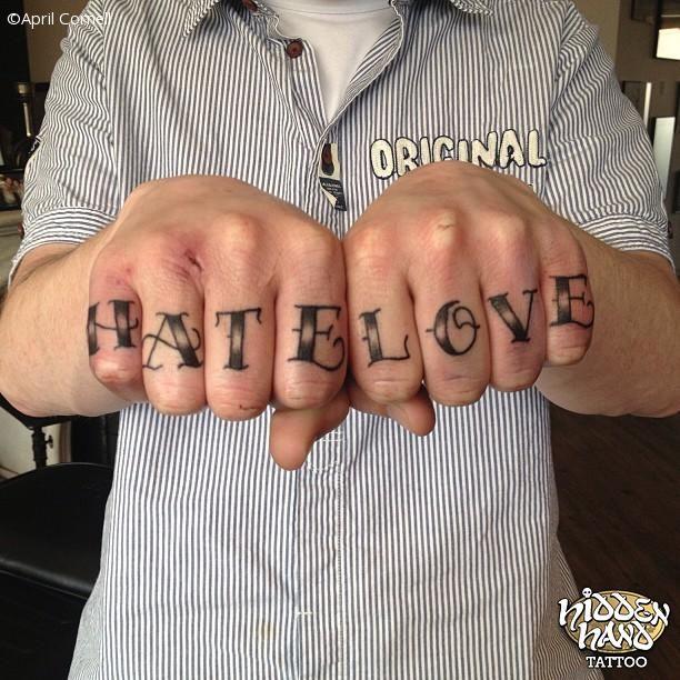 Hate Love Knuckle Tattoo Design Tattoobite Com Tattoos