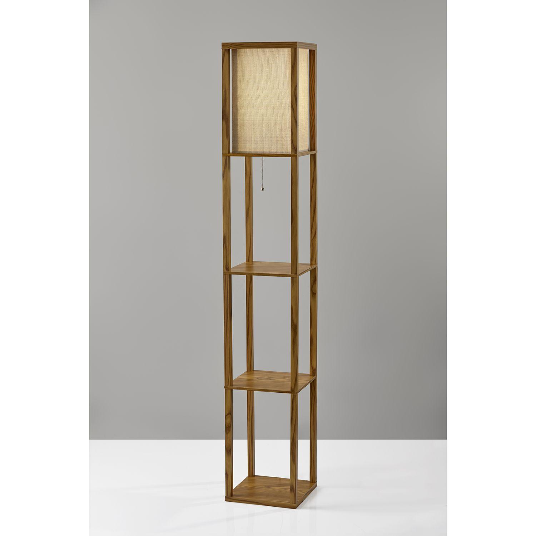 Adesso Wright Natural Wood Veneer One Light Shelf Lamp 3138 12 Shelf Lamp Floor Lamp With Shelves Floor Lamp Base