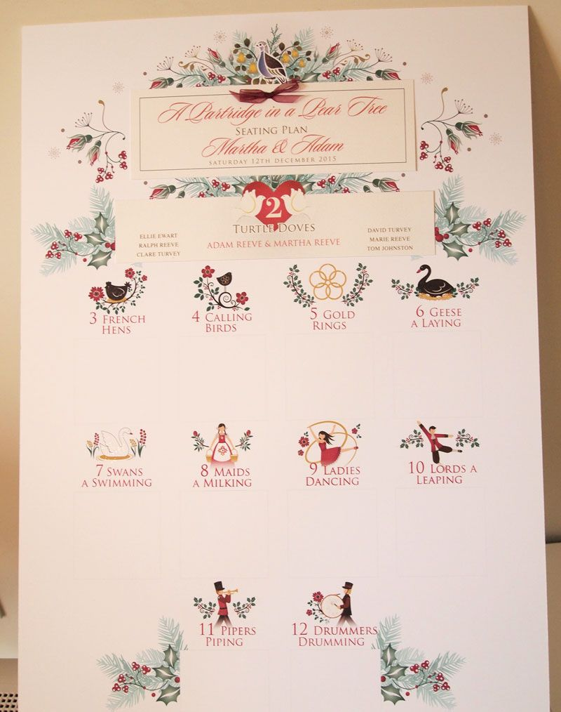 christmas wedding 12 days of christmas seating plan supplied as a kit for you