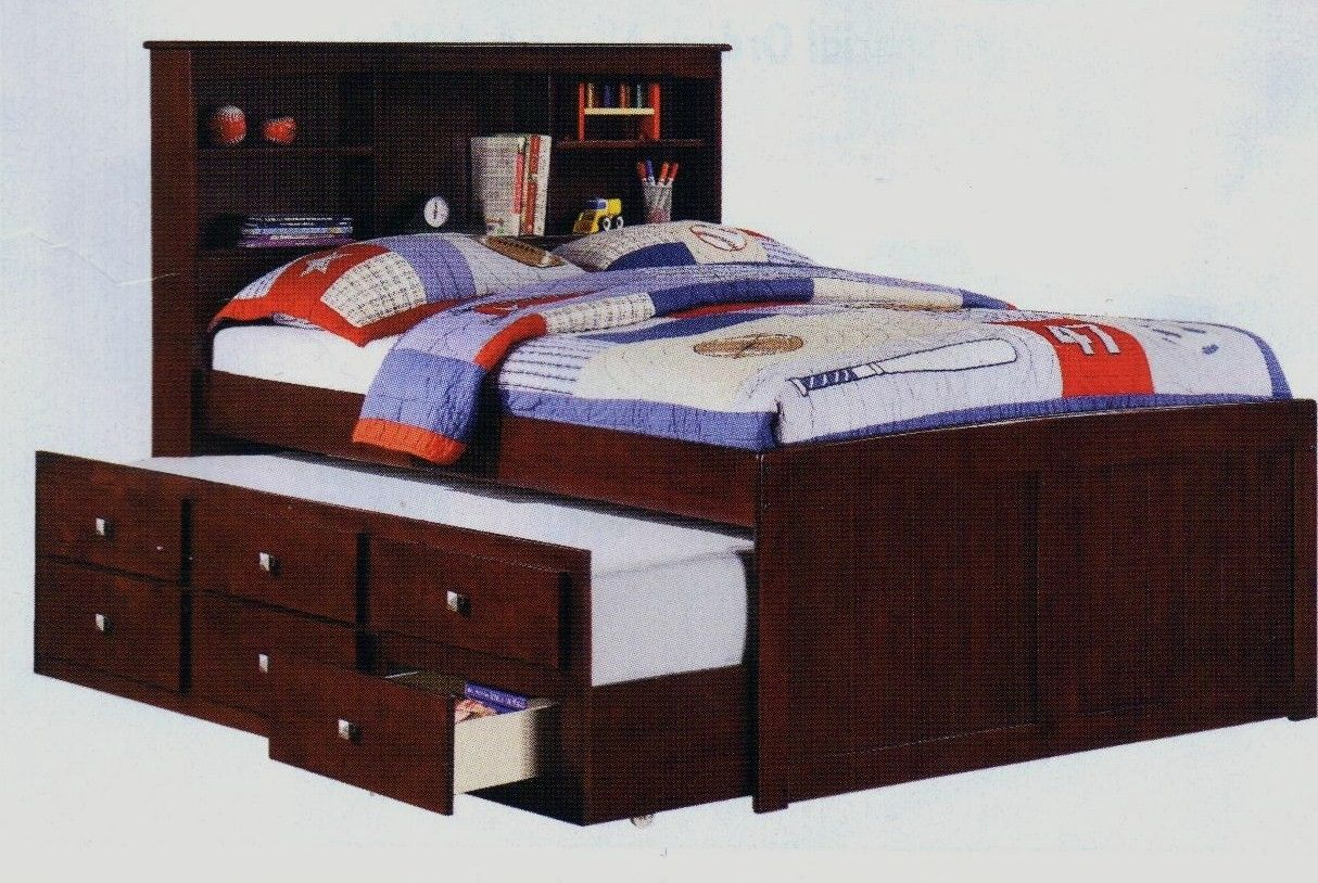 Solid Wood Espresso Full Size Captains Bookcase Bed Childrens Bedroom Furniture With Trundle And Storage In Houston