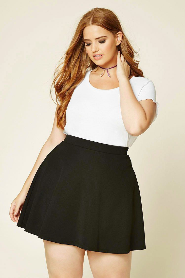 82326626d3c Forever 21+ - A skater skirt crafted from textured knit with an elasticized  waist and an exposed back zipper.