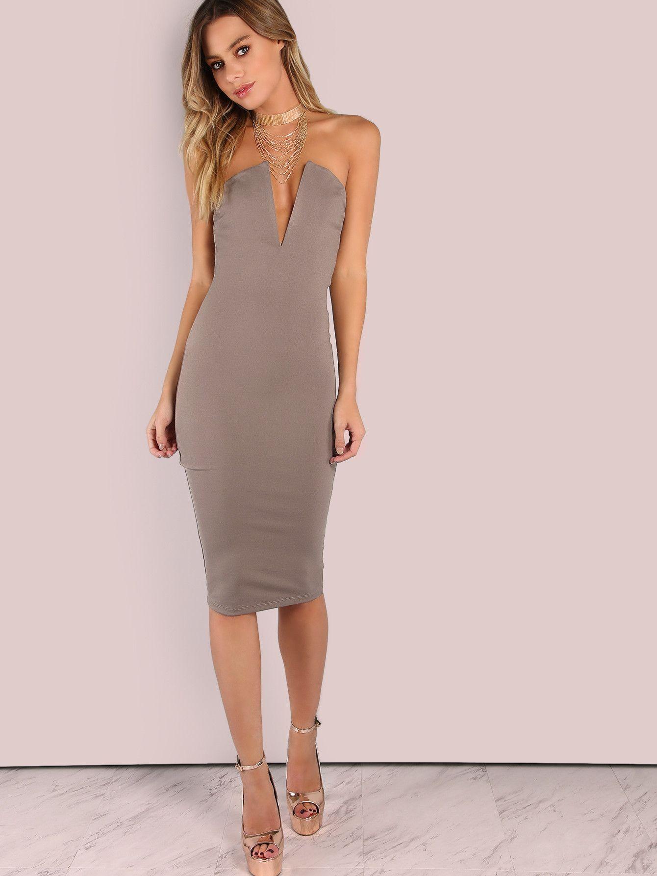 eb7e8e5940 Fabric  Fabric has some stretch Season  Spring Type  Tube Pattern Type   Plain Sleeve Length  Sleeveless Color  Grey Dresses Length  Midi Style   Elegant ...