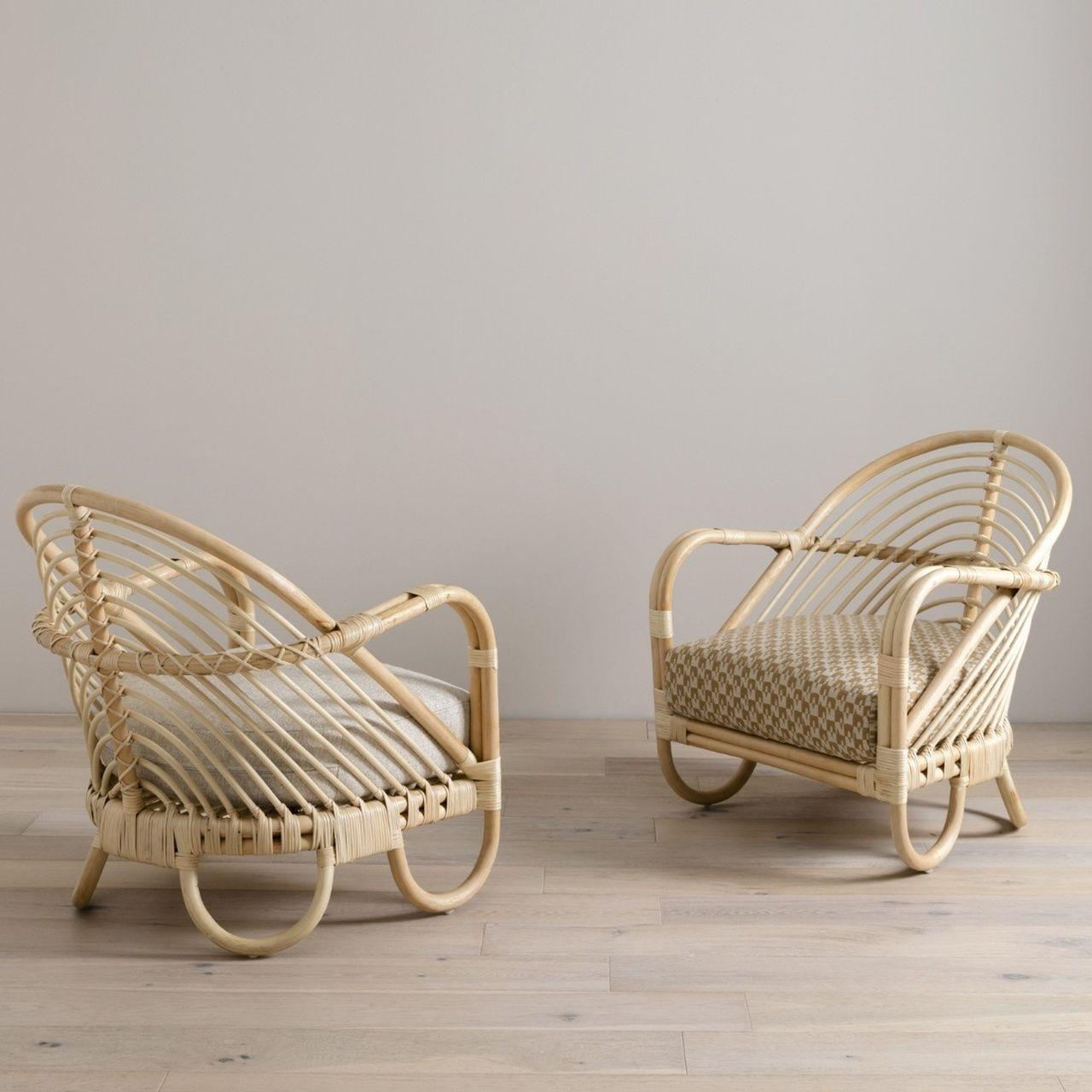 Marina Woven Natural Rattan Chair – Herringbone