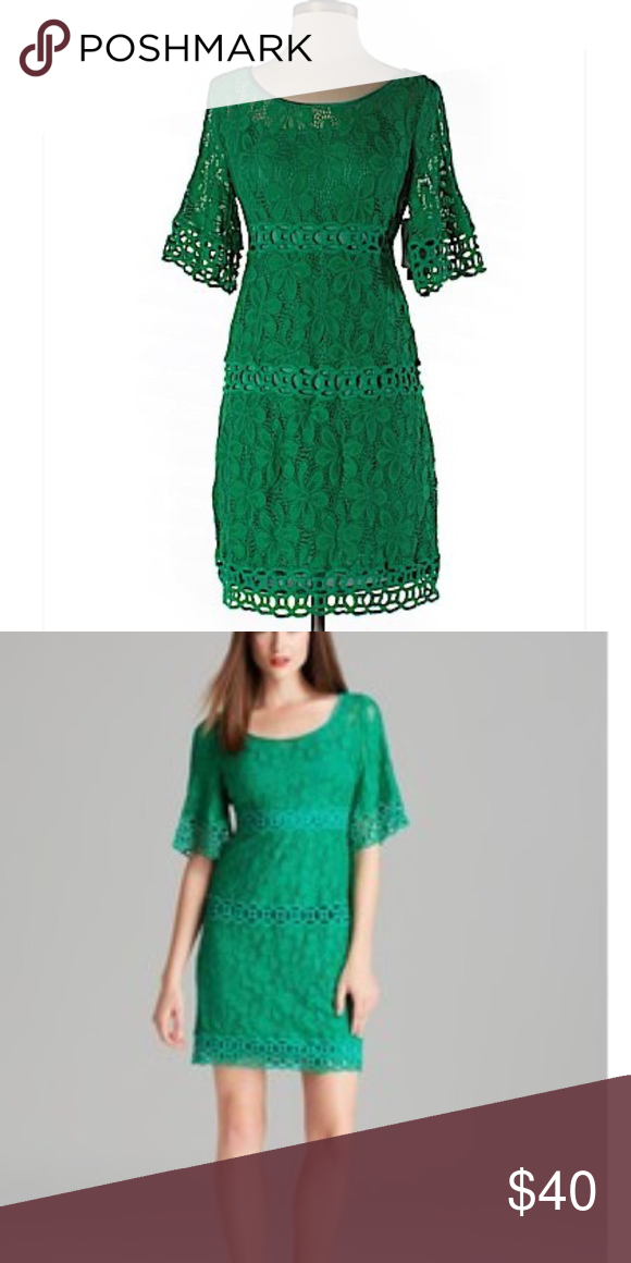 Laundry by Shelli Segal Lace Overlay Dress Green dress with lace design and cut outs. Great for any event- wedding, bridal shower, christening, etc. Laundry by Shelli Segal Dresses