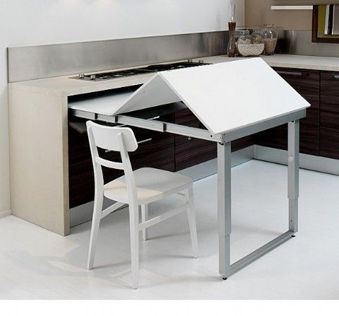 Picture Of Space Saving Kitchen Island With Pull Out Table Tiny House Kitchen Kitchen Design Small Kitchen Interior