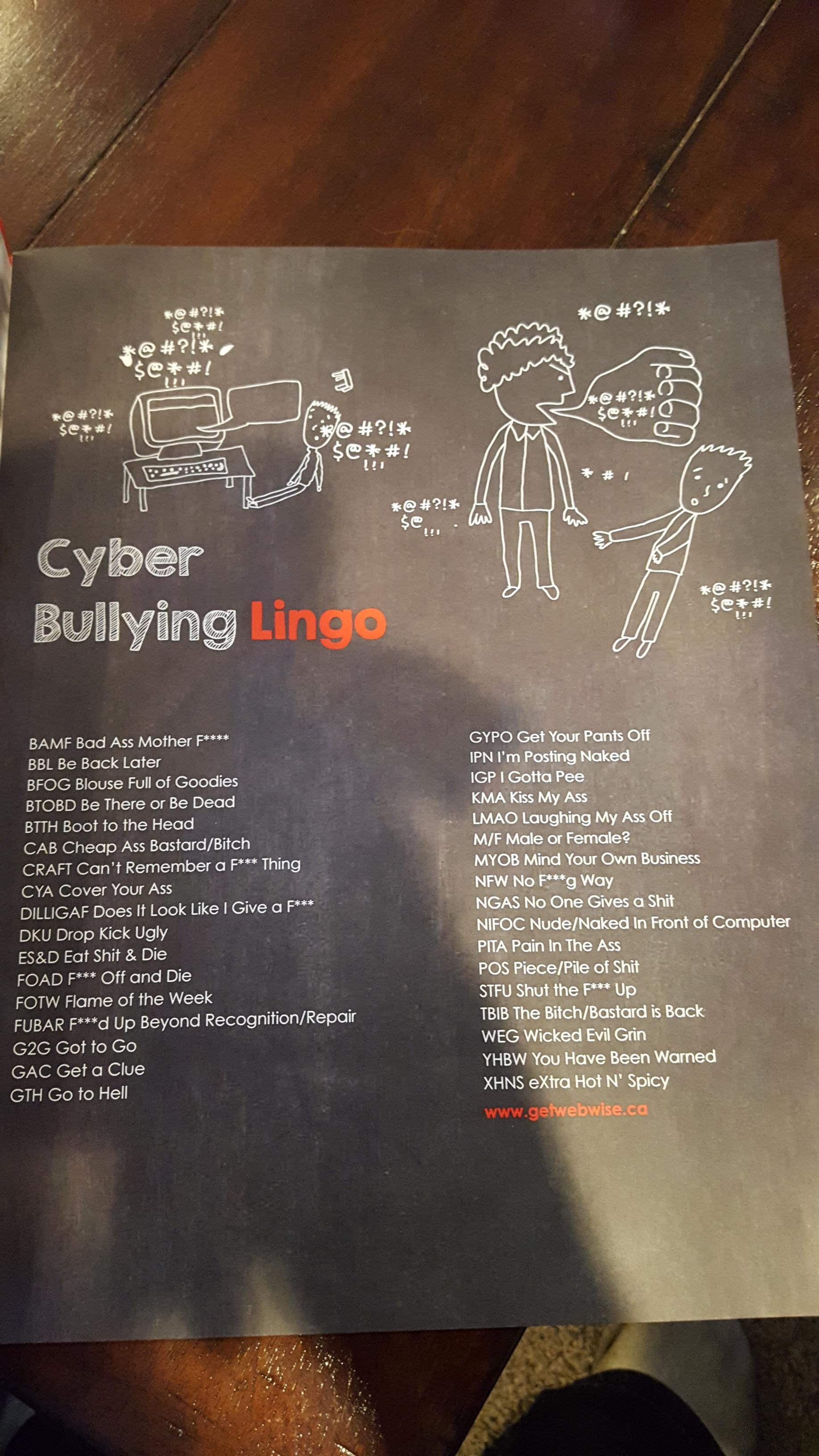 cyber bullying lingo my nephew brought home  [ 1836 x 3264 Pixel ]