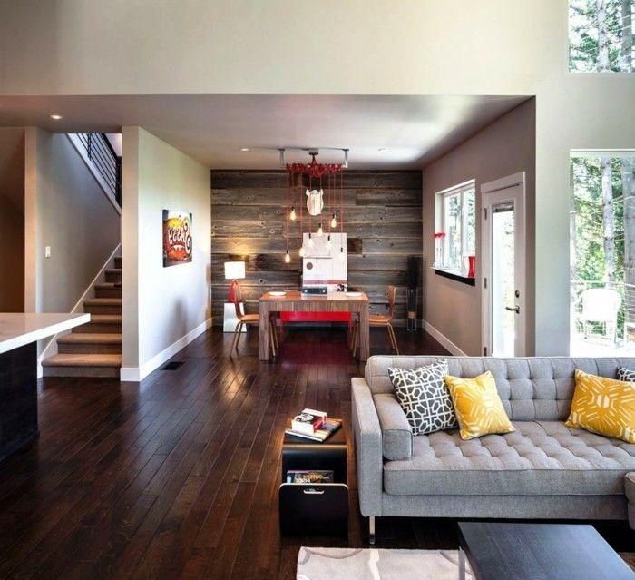 Wohnideen wohnzimmer holzboden graues sofa offener wohnplan modernes wanddesign