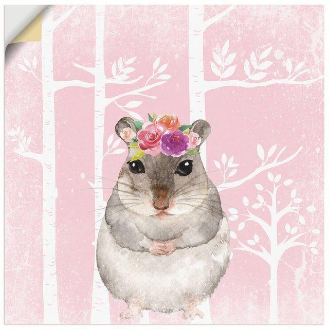 Photo of Wandfolie »UtArt: Hamster mit Blumen im Wald Tier« –  Wandfolie »UtArt: Hamst…
