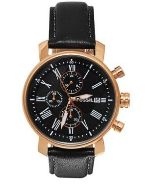 2ddb18654eefb Relógio Fossil BQ1008 Men s Black Leather Strap Black Dial Chronograph Watch   Relogio  Fossil