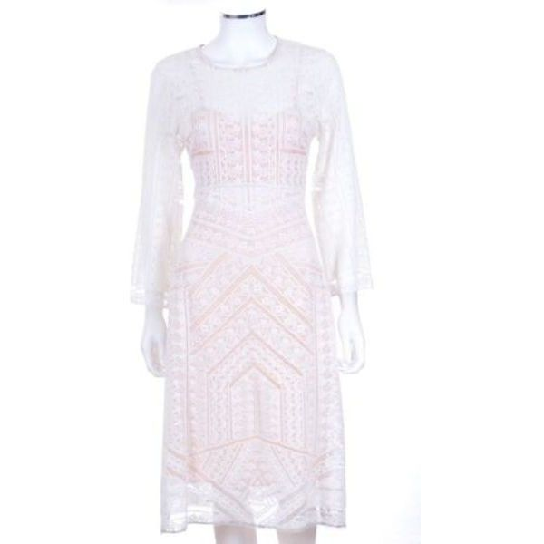 Pre-Owned Nwt Bcbg Runway 'Adalene' White Lace Long Sleeve a-Line... ($111) ❤ liked on Polyvore featuring dresses, white, white a line dress, long sleeve a line dress, a line dress, print dress and longsleeve dress
