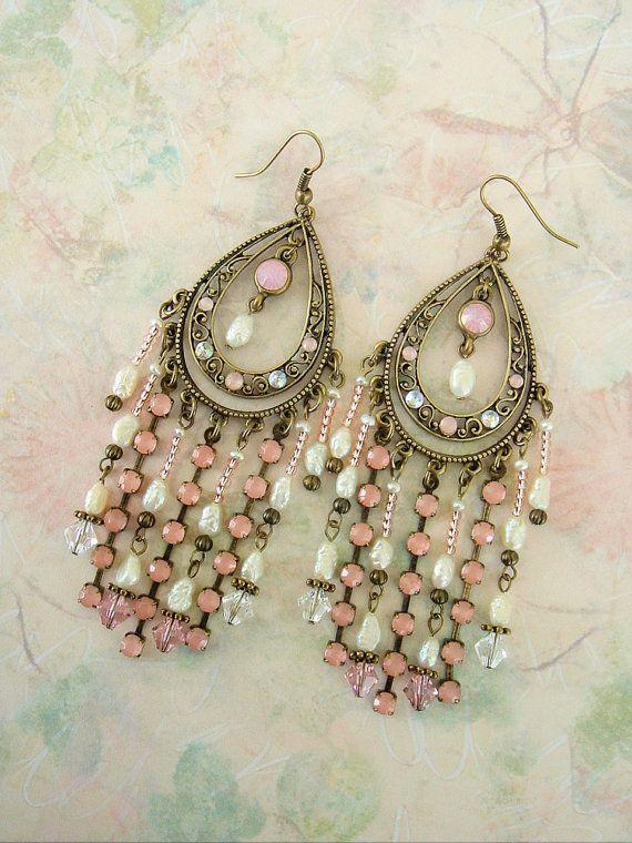 Bridal Earrings Boho Earrings Boho Chic Chandelier Earrings Pastel by BohoStyleMe