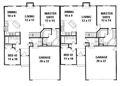 Plan 2190 Duplex Ranch First Floor Plan Duplex Plans Duplex Floor Plans Duplex House Plans